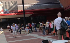The morning queue at the British Library, London.