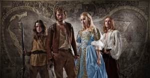 The photogenic young cast of 'New Worlds' (from left: Alice Englert, Jamie Dornan, Freya Mavor, and Joe Dempsie)